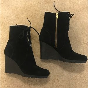 Michael Kors black wedge suede boot size 11